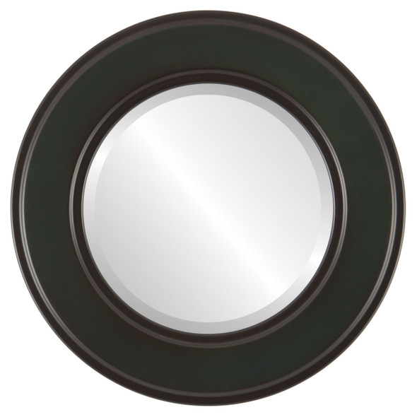 Beveled Mirror - Montreal Round Frame - Hunter Green