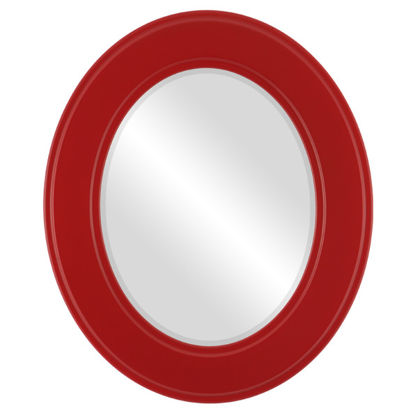 Beveled Mirror - Montreal Oval Frame - Holiday Red