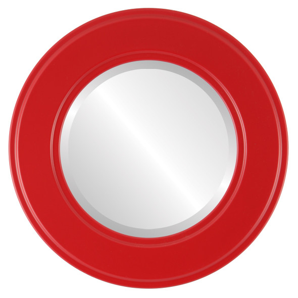 Beveled Mirror - Montreal Round Frame - Holiday Red