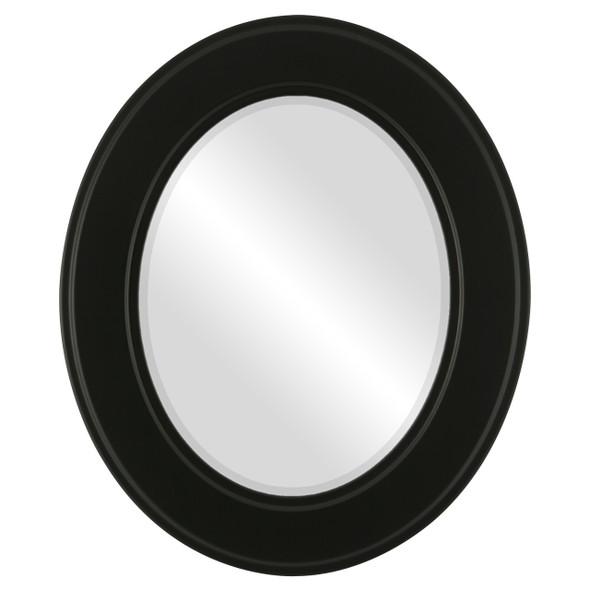 Beveled Mirror - Montreal Oval Frame - Matte Black