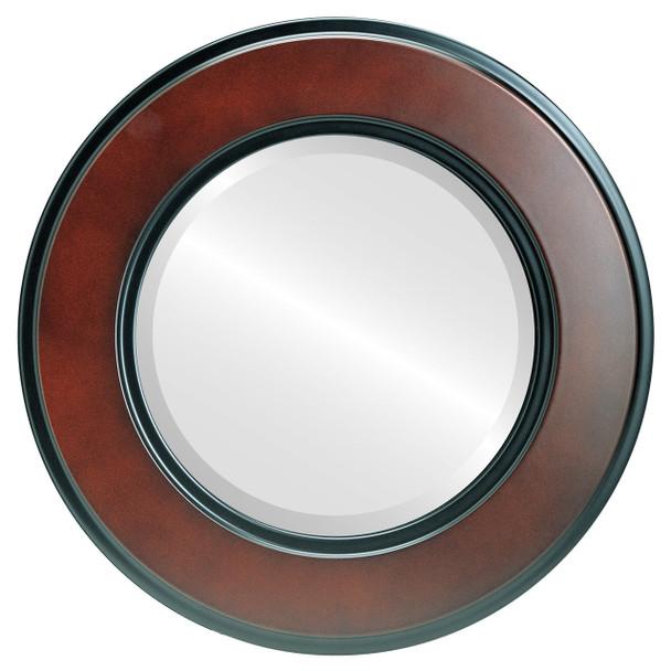 Beveled Mirror - Montreal Round Frame - Rosewood