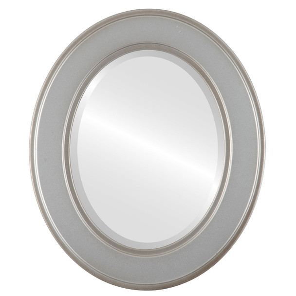 Beveled Mirror - Montreal Oval Frame - Silver Shade
