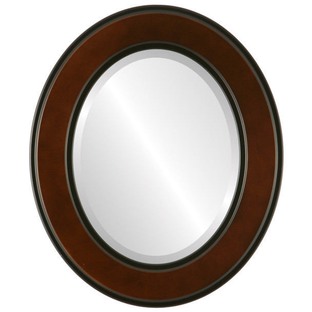 Beveled Mirror - Montreal Oval Frame - Walnut