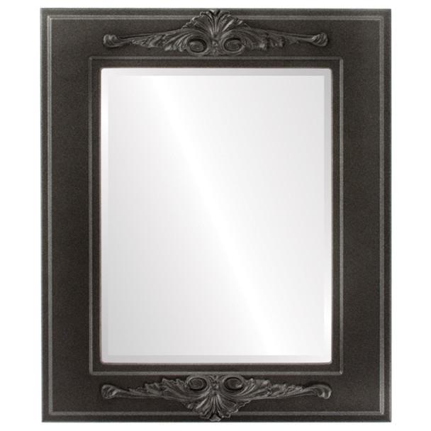 Beveled Mirror - Ramino Rectangle Frame - Black Silver