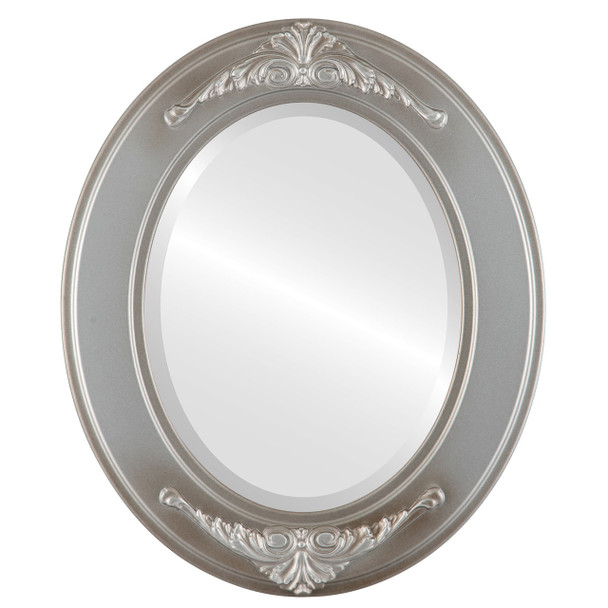 Beveled Mirror - Ramino Oval Frame - Silver Shade