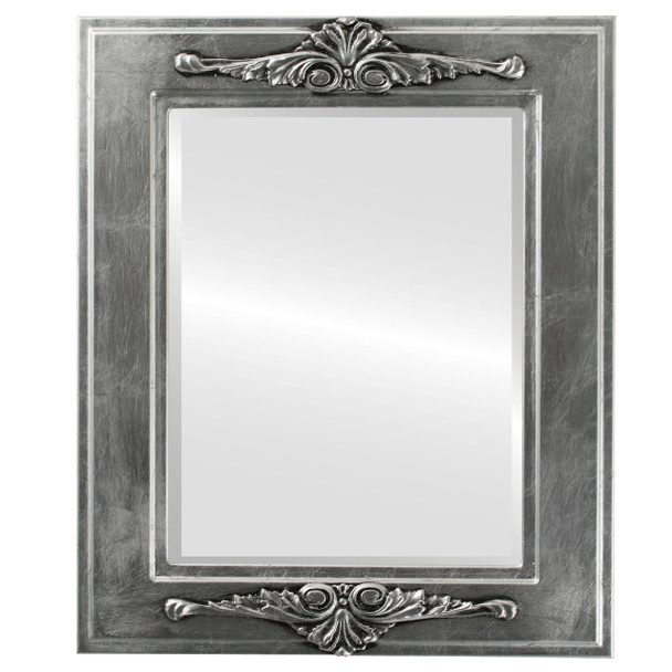 Beveled Mirror - Ramino Rectangle Frame - Silver Leaf with Black Antique