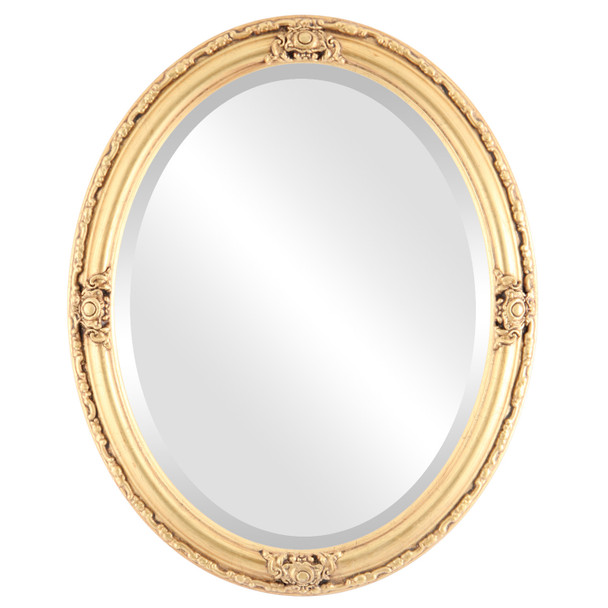 Beveled Mirror - Jefferson Oval Frame - Antique Gold Leaf