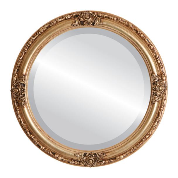 Beveled Mirror - Jefferson Round Frame - Antique Gold Leaf