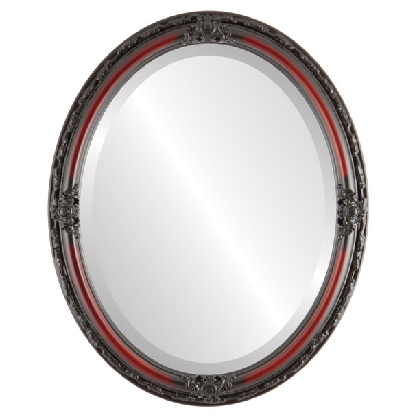 Beveled Mirror - Jefferson Oval Frame - Rosewood
