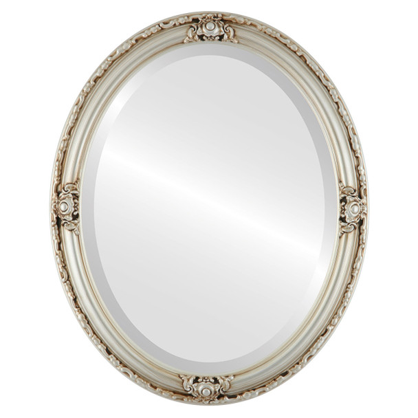 Beveled Mirror - Jefferson Oval Frame - Silver