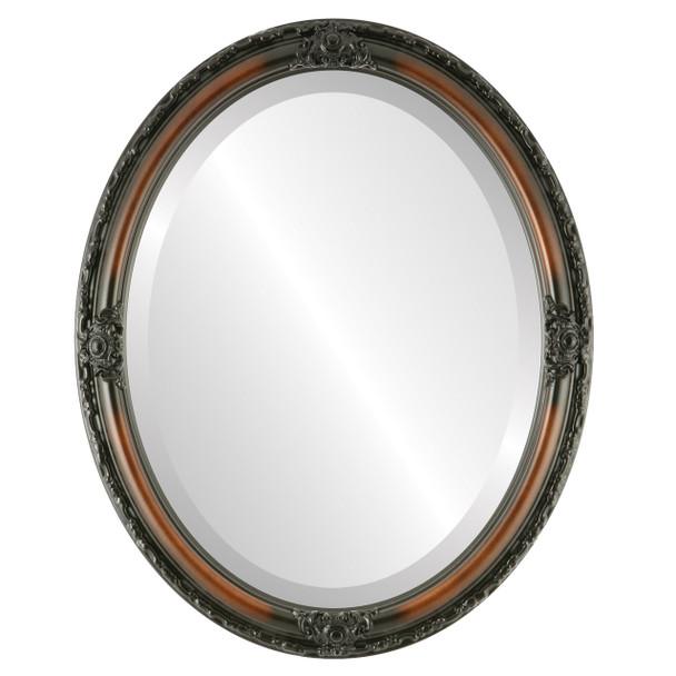 Beveled Mirror - Jefferson Oval Frame - Walnut
