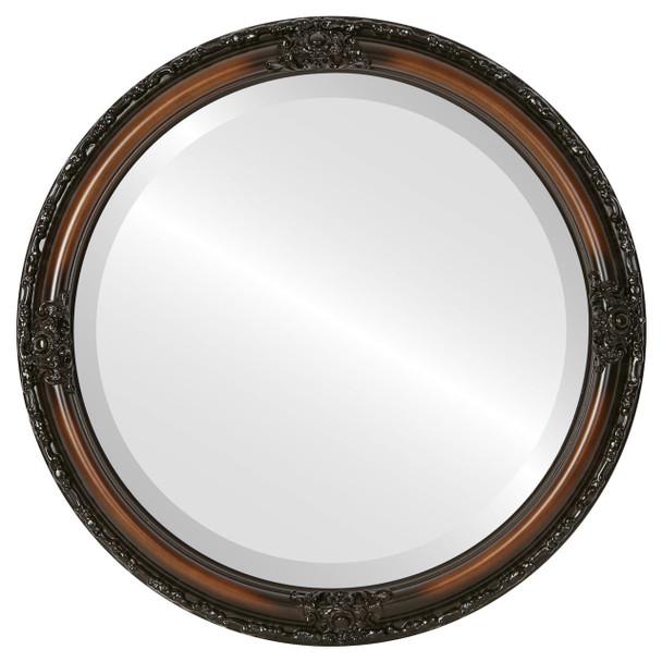 Beveled Mirror - Jefferson Round Frame - Walnut