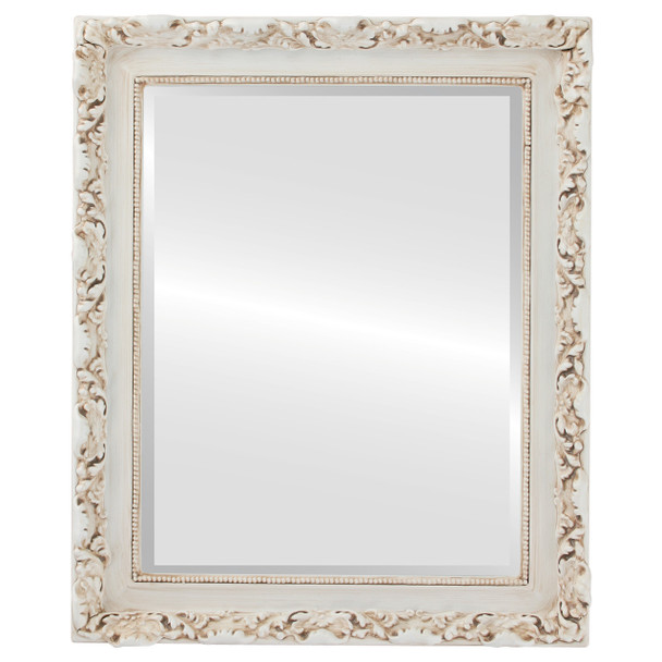 Beveled Mirror - Rome Rectangle Frame - Antique White