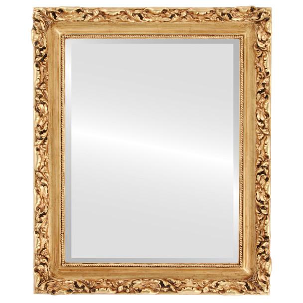 Beveled Mirror - Rome Rectangle Frame - Antique Gold Leaf