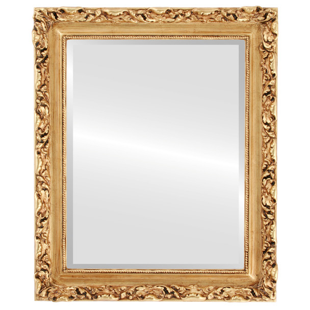 Beveled Mirror - Rome Rectangle Frame - Gold Leaf
