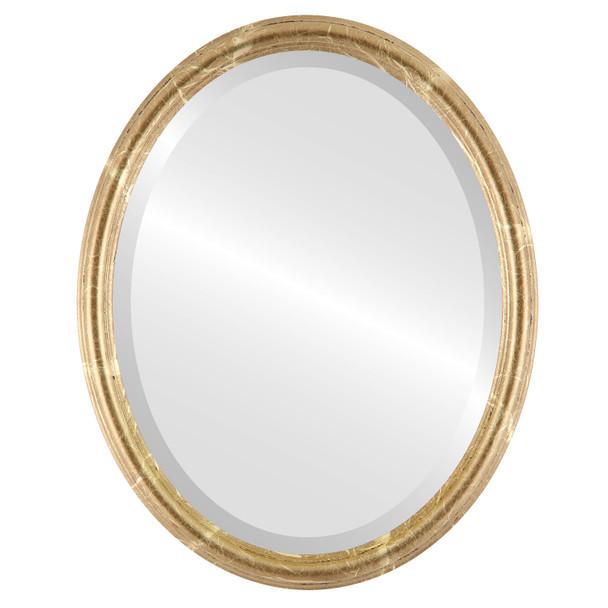 Beveled Mirror - Saratoga Oval Frame - Champagne Gold