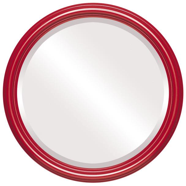 Beveled Mirror - Saratoga Round Frame - Holiday Red