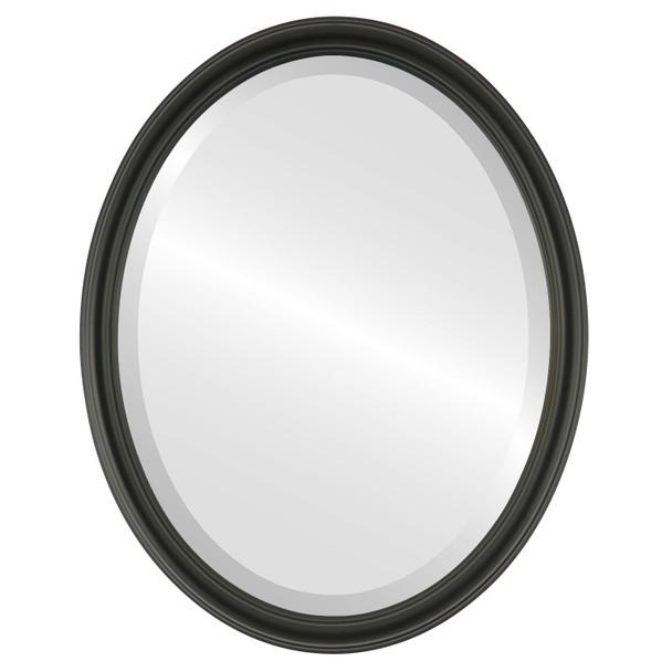Beveled Mirror - Saratoga Oval Frame - Matte Black