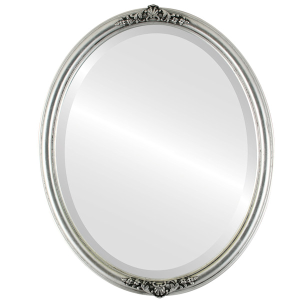 Beveled Mirror - Contessa Oval Frame - Silver Leaf with Black Antique