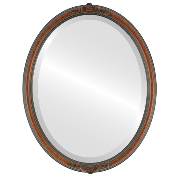 Beveled Mirror - Contessa Oval Frame - Vintage Walnut