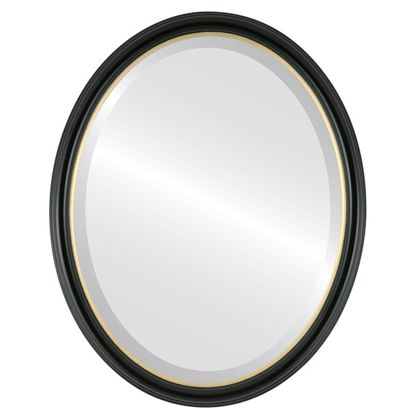 Beveled Mirror - Hamilton Oval Frame - Gloss Black with Gold Lip