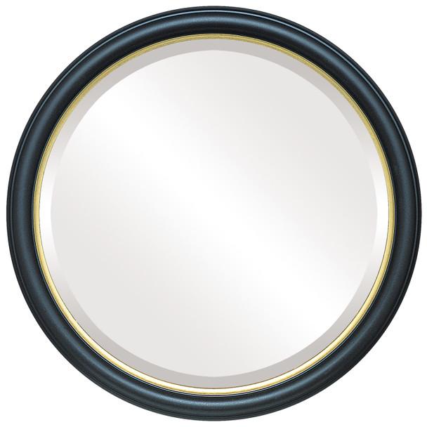 Beveled Mirror - Hamilton Round Frame - Matte Black with Gold Lip