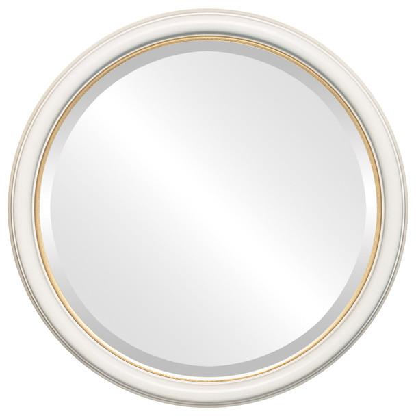 Beveled Mirror - Hamilton Round Frame - Taupe with Gold Lip