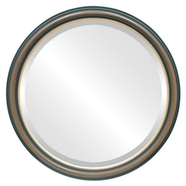 Beveled Mirror - Hamilton Round Frame - Walnut with Gold Lip