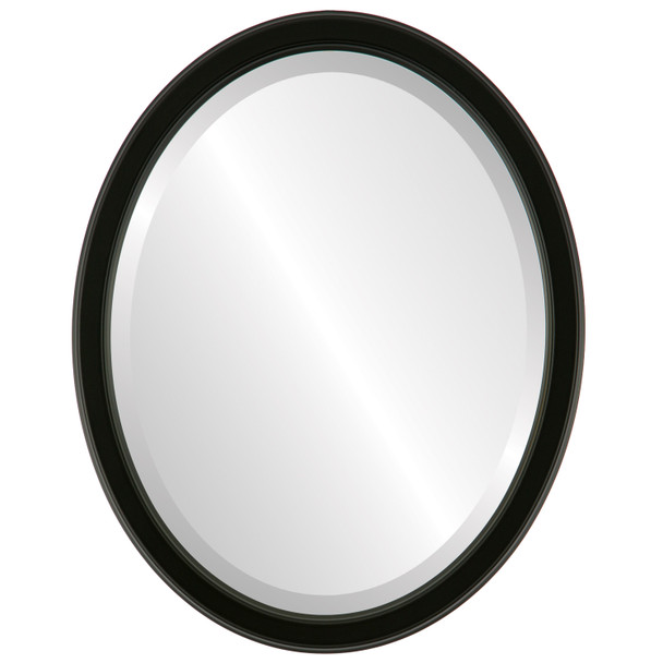 Beveled Mirror - Toronto Oval Frame - Matte Black