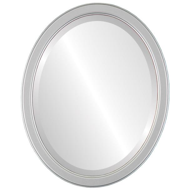 Beveled Mirror - Toronto Oval Frame - Silver Spray