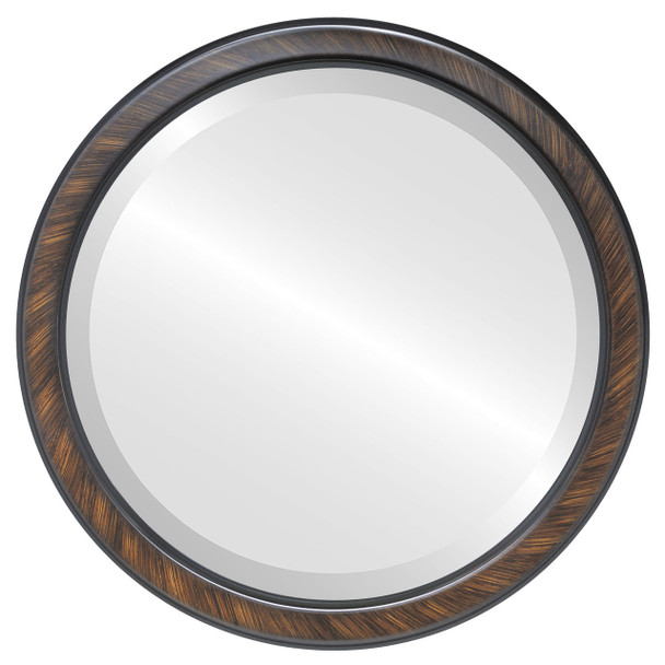 Beveled Mirror - Toronto Round Frame - Vintage Walnut