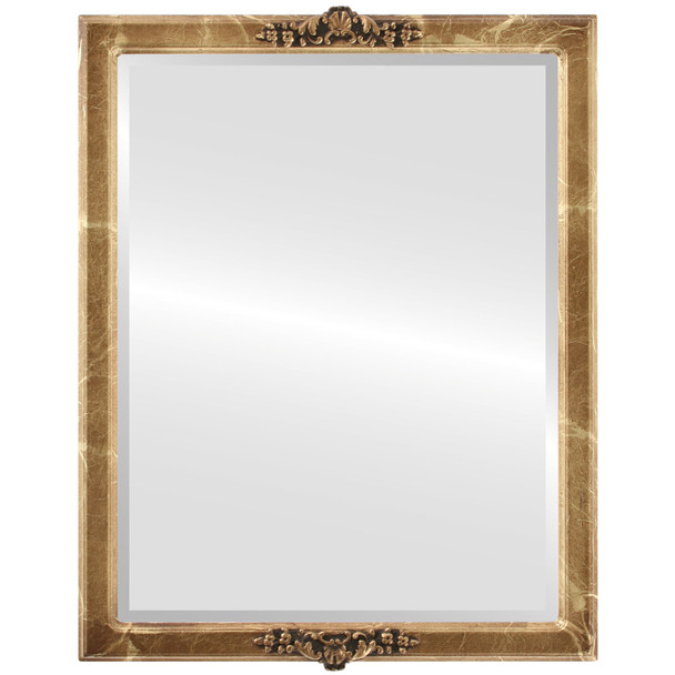 Beveled Mirror - Athena Rectangle Frame - Champagne Gold