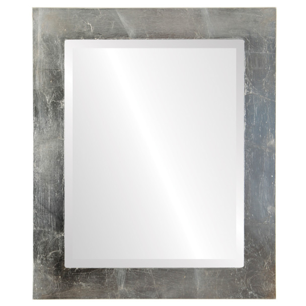 Beveled Mirror - Soho Rectangle Frame - Silver Leaf with Brown Antique