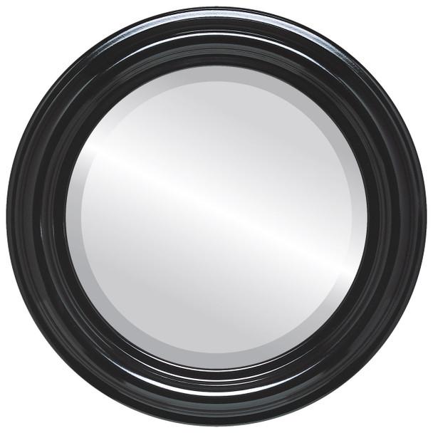 Beveled Mirror - Philadelphia Round Frame - Gloss Black