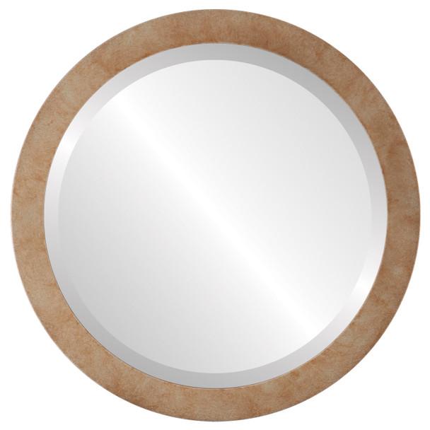 Beveled Mirror - Manhattan Round Frame - Burnished Silver