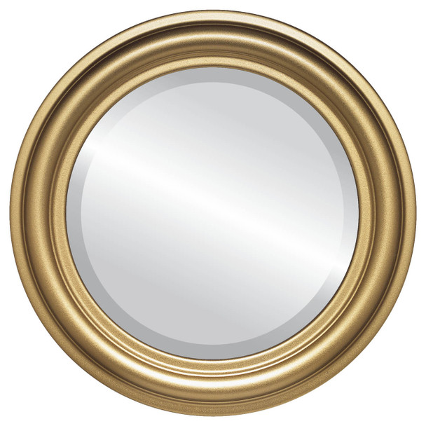 Beveled Mirror - Philadelphia Round Frame - Gold Spray