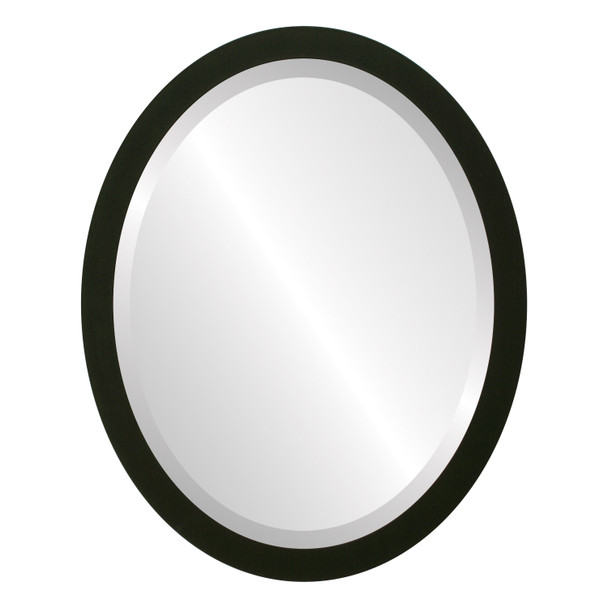 Beveled Mirror - Manhattan Oval Frame - Matte Black