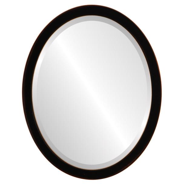 Beveled Mirror - Manhattan Oval Frame - Rubbed Black