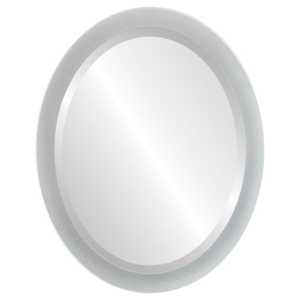 Beveled Mirror - Manhattan Oval Frame - Bright Silver