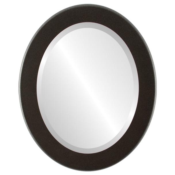 Beveled Mirror - Avenue Oval Frame - Black Silver