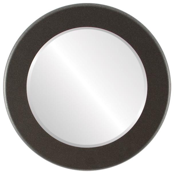Beveled Mirror - Avenue Round Frame - Black Silver