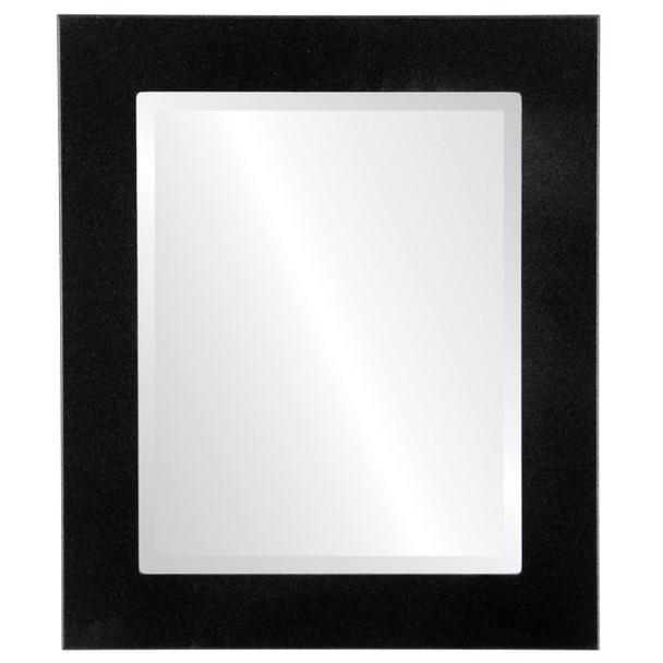 Beveled Mirror - Avenue Rectangle Frame - Black Silver