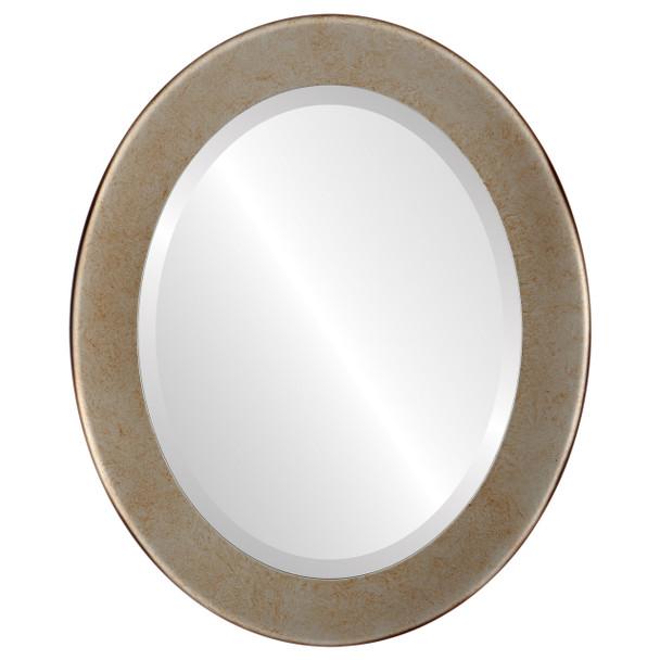 Beveled Mirror - Avenue Oval Frame - Burnished Silver