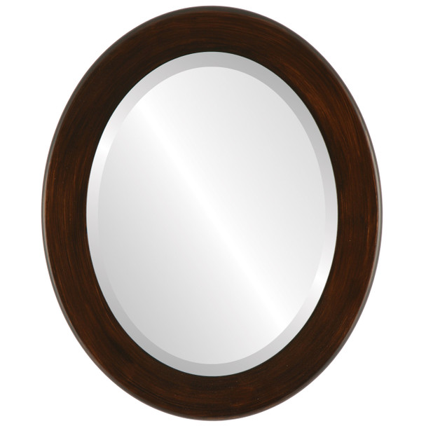Beveled Mirror - Avenue Oval Frame - Mocha