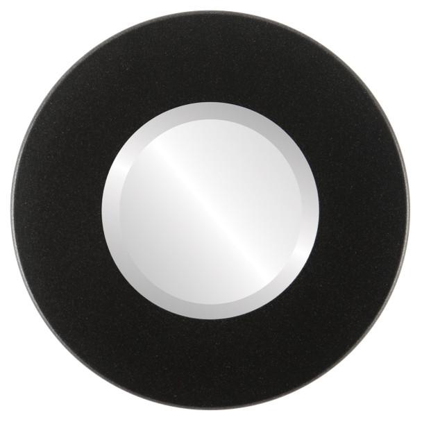 Beveled Mirror - Boulevard Round Frame - Black Silver