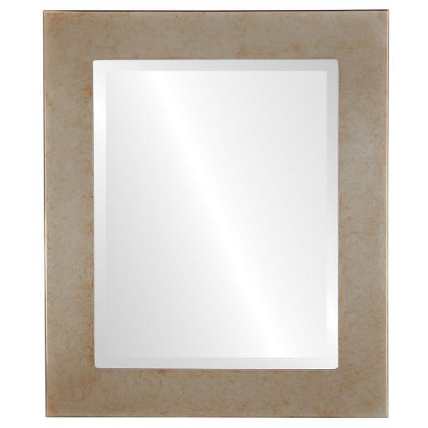 Beveled Mirror - Cafe Rectangle Frame - Burnished Silver