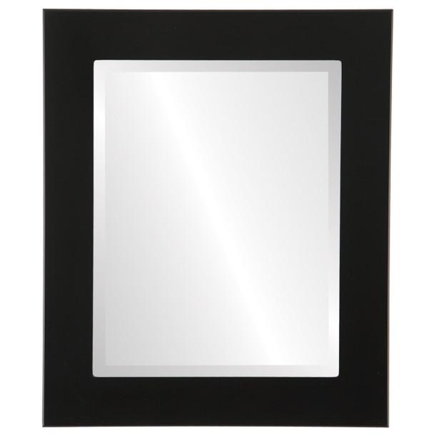 Beveled Mirror - Cafe Rectangle Frame - Matte Black