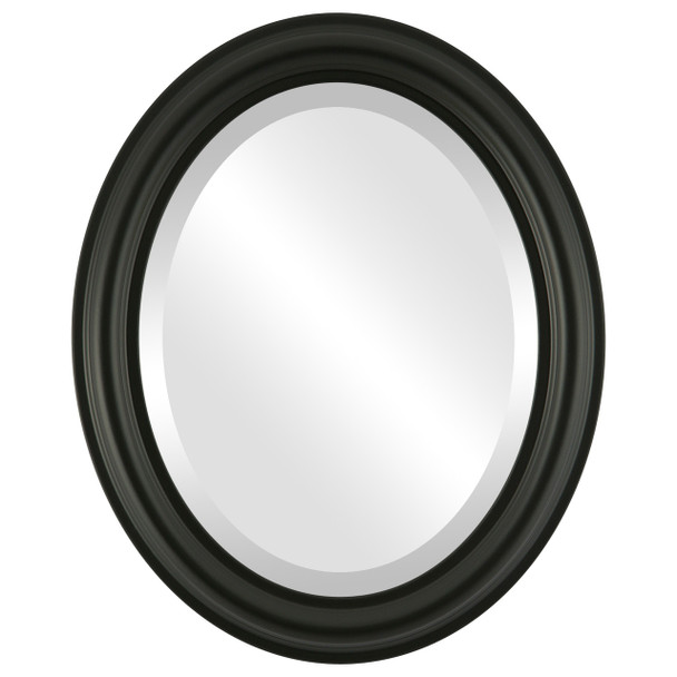 Beveled Mirror - Philadelphia Oval Frame - Matte Black