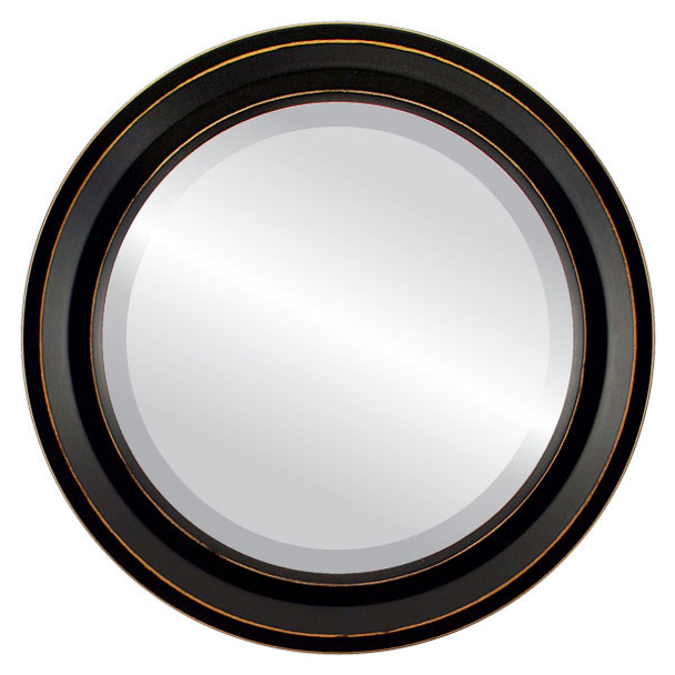 Beveled Mirror - Newport Round Frame - Rubbed Black