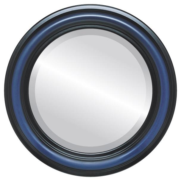 Beveled Mirror - Philadelphia Round Frame - Royal Blue
